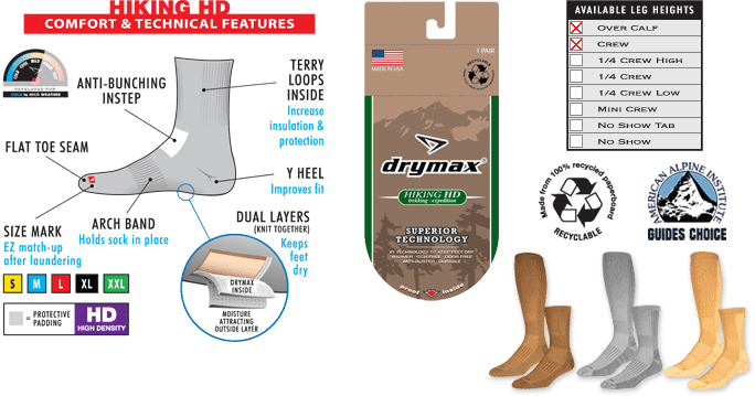 Drymax Hiking Socks Technical Features