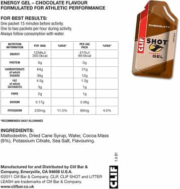 Clif Gel Chocolate Flavour Ingredients