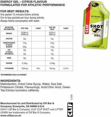 Clif Energy Gel Citrus Ingredients